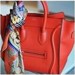 Red Celine Mini Luggage and hermes Scarf