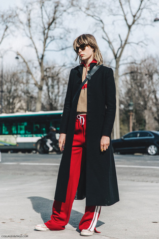 streetstyle-red-track-pants-black- coat-fashion-trend
